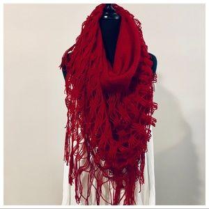 Red knit fringe scarf